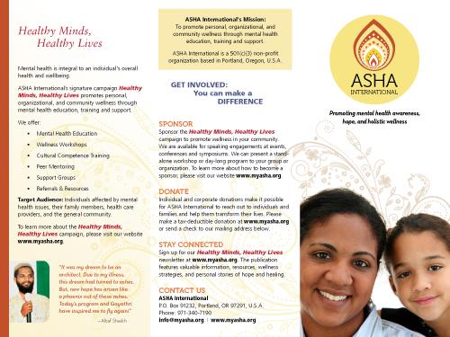 Our work asha international for Free mental health brochures